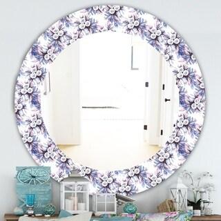 Designart 'Purple Bloom 3' Traditional Mirror - Frameless Oval or Round Bathroom Mirror