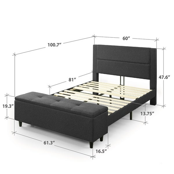 Priage By Zinus Grey Upholstered Platform Bed With Storage Ottoman