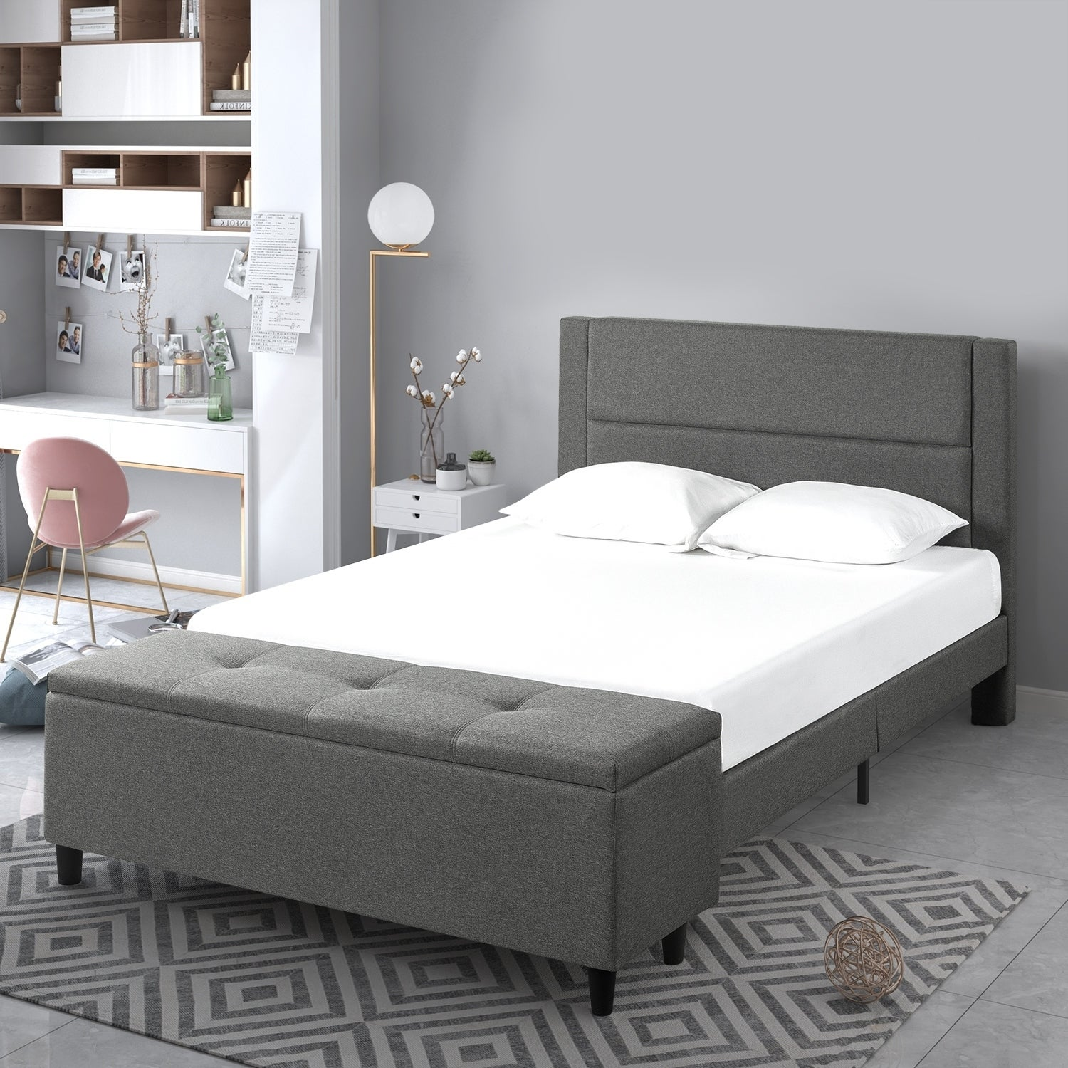 Copper Grove Krolevets Upholstered Grey Platform Bed With Cushioned Headboard And Storage Ottoman On Sale Overstock 27978309