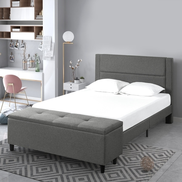 Copper Grove Krolevets Upholstered Grey Platform Bed with Cushioned Headboard and Storage Ottoman. Opens flyout.
