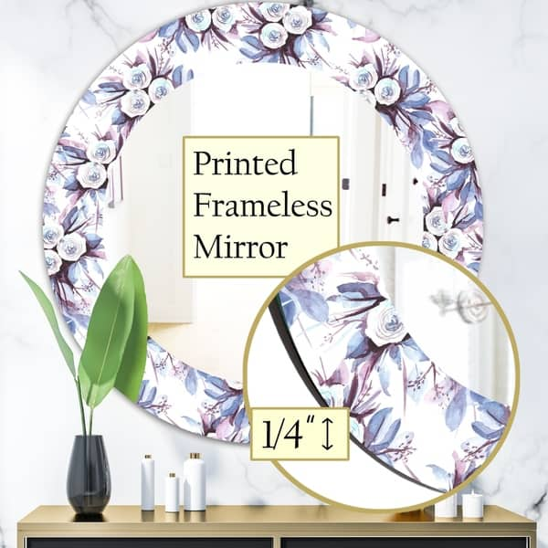 Designart Purple Bloom 1 Traditional Mirror Frameless Oval Or Round Bathroom Mirror Purple On Sale Overstock 27978310
