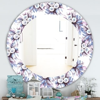 Designart 'Purple Bloom 1' Traditional Mirror - Frameless Oval or Round Bathroom Mirror - Purple