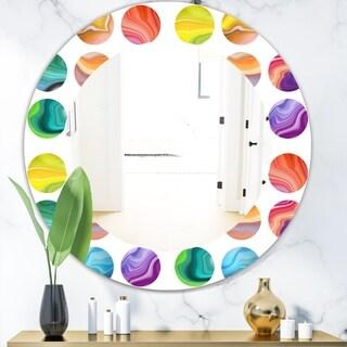 Designart 'Circular Dance 1' Modern Vanity Mirror - Frameless Oval or Round Wall Mirror - Multi
