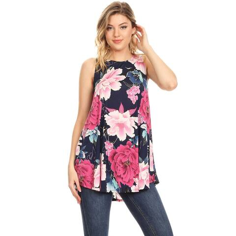 Women's Casual Pattern Print Comfy Fit Scoop Neck Long Body Tank Top Tunic Tee