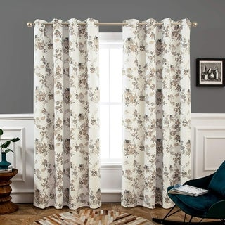 "DriftAway Watercolor Floral/Flower Blackout Grommet Lined Window Curtain Panel Pair - 52"" width x 84 "" length"