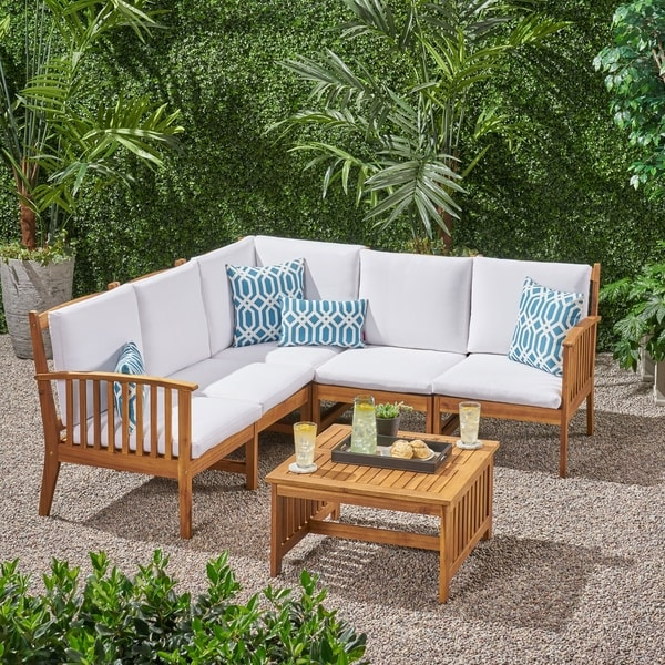 Carolina Outdoor 5 Seater Acacia Wood Sofa Sectional Set by Christopher Knight Home. Opens flyout.