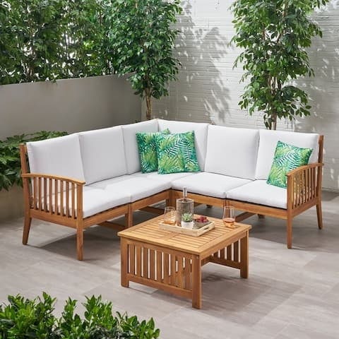Carolina Outdoor 5 Seater Acacia Wood Sofa Sectional Set by Christopher Knight Home