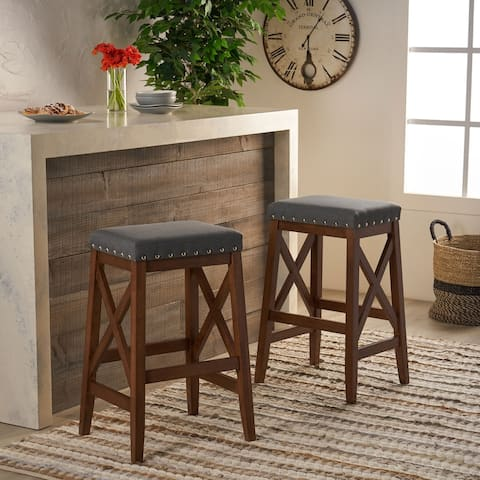 Greely Contemporary Farmhouse Upholstered Fabric Barstools (Set of 2) by Christopher Knight Home