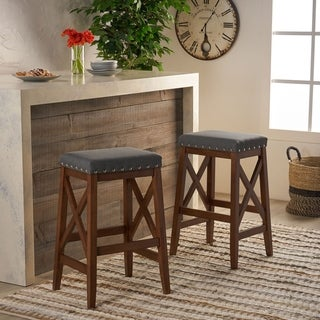 Link to Greely Contemporary Farmhouse Upholstered Fabric Barstools (Set of 2) by Christopher Knight Home Similar Items in Dining Room & Bar Furniture