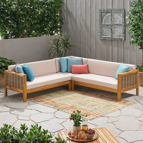 Linwood Outdoor 5 Seater Wood and Wicker Sectional Sofa Set by Christopher Knight Home