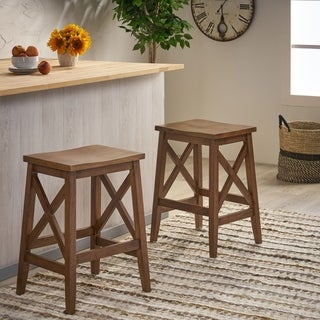 Link to Heffley Contemporary Farmhouse Wooden Barstools (Set of 2) by Christopher Knight Home Similar Items in Dining Room & Bar Furniture