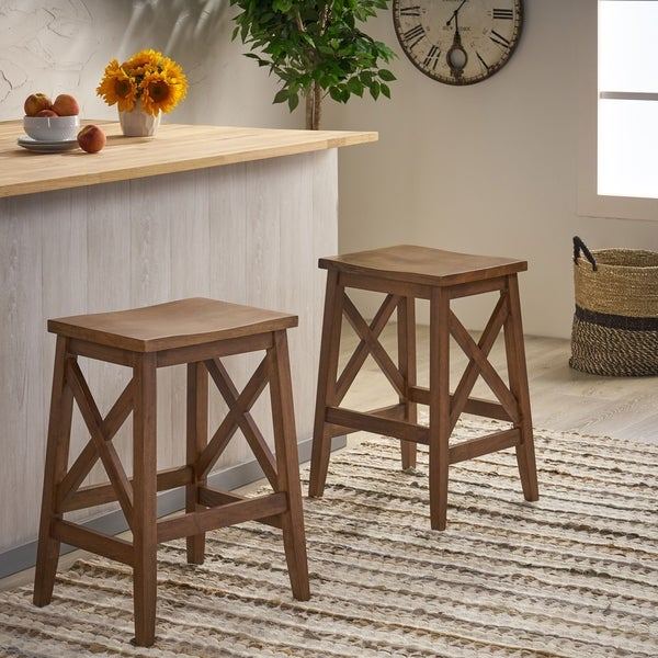Heffley Contemporary Farmhouse Wooden Barstools (Set of 2) by Christopher Knight Home. Opens flyout.