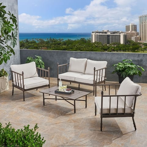 Vienne Outdoor 4 Seater Aluminum Chat Set with Cushions by Christopher Knight Home