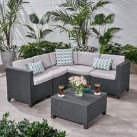 Waverly Outdoor 5 Seater Faux Wicker Sectional Sofa Set with Cushions by Christopher Knight Home.
