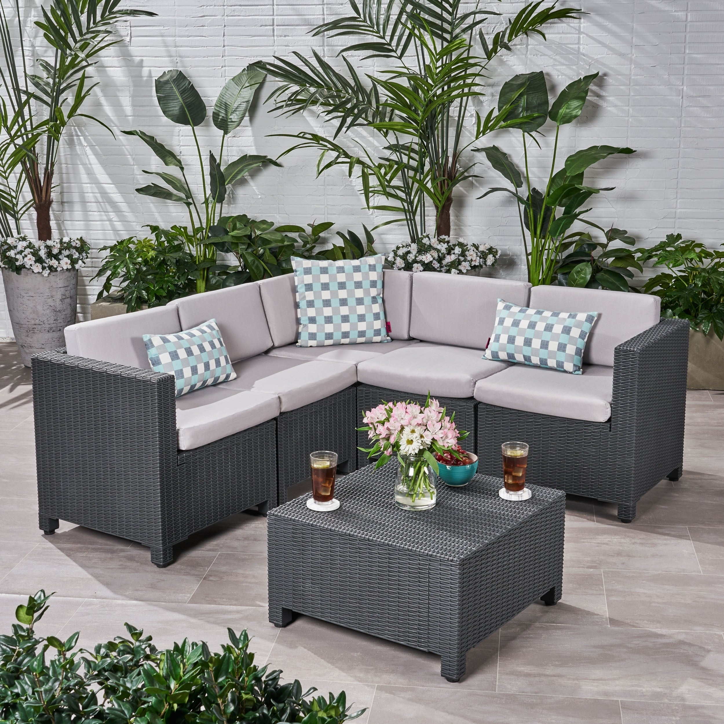 Waverly Outdoor 5 Seater Faux Wicker Sectional Sofa Set With Cushions By Christopher Knight Home