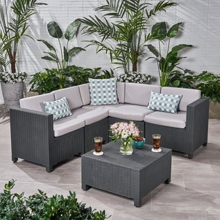 Waverly Outdoor 5-seater Sectional Set with Cushions by Christopher Knight Home