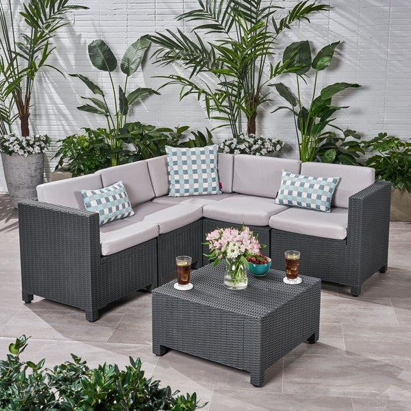Shop Waverly Outdoor 5 Seater Faux Wicker Sectional Sofa Set With