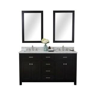 Furnishmore Springfield Marble/Porcelain/Hardwood 60-inch Double Sink Bathroom Vanity