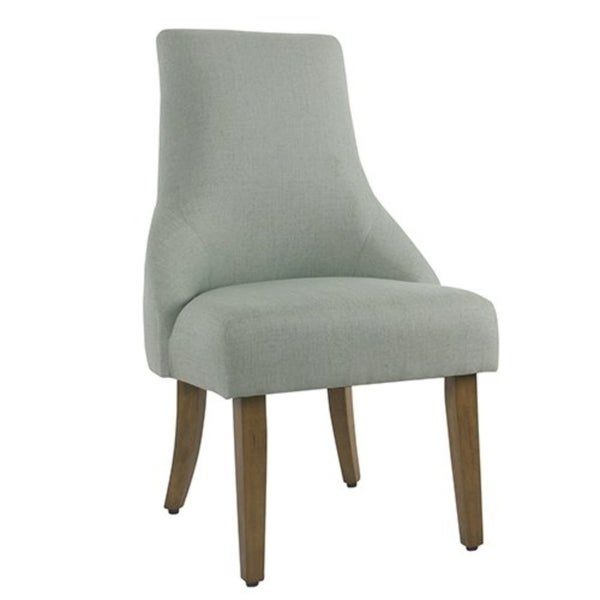 Fabric Upholstered High Back Dining Chair With Wooden Legs Blue And Brown