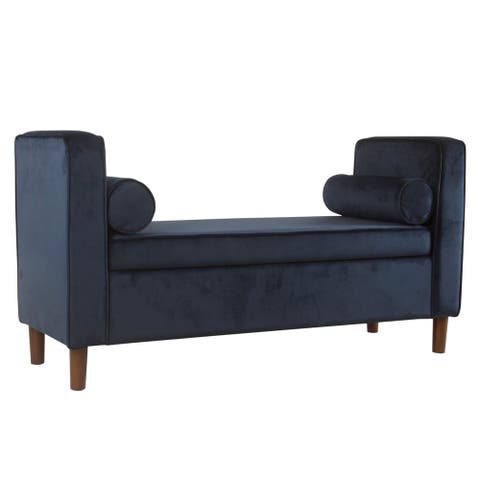 Velvet Upholstered Wooden Bench with Lift Top Storage and Two Bolster Pillows, Blue