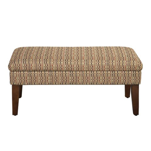 Geometric Patterned Fabric Upholstered Wooden Bench with Lift Top Storage, Multicolor