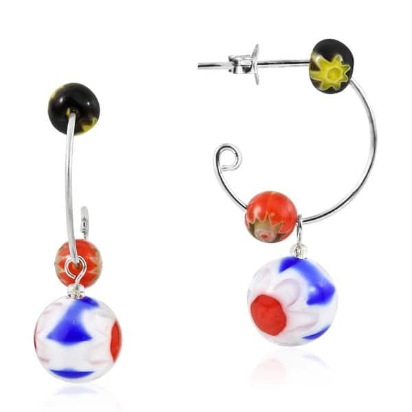 Semi Precious Beads Sterling Teardrop Loop Design Pierced Earrings