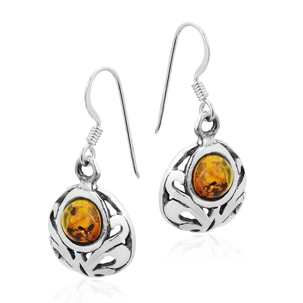 Sterling Silver Amber Round Dangle Earrings