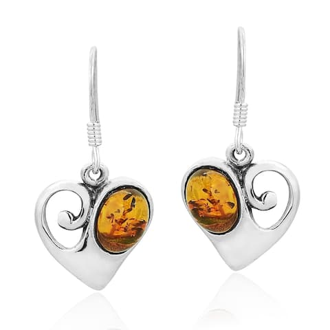 Handmade Vintage Style Sterling Silver Heart Swirl with Amber Accent Dangle Earrings (Thailand)