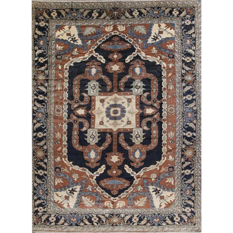 """Heriz Floral Hand-Knotted Wool Persian Oriental Area Rug - 17'9"""" x 13'7"""""""