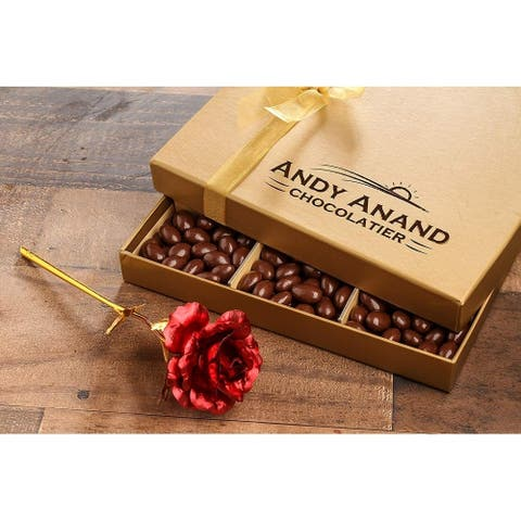 Andy Anand Chocolate covered Almonds 1lbs Large 24K Gold Flower, Handwritten Greeting Card Gifts, For Birthday, Anniversary
