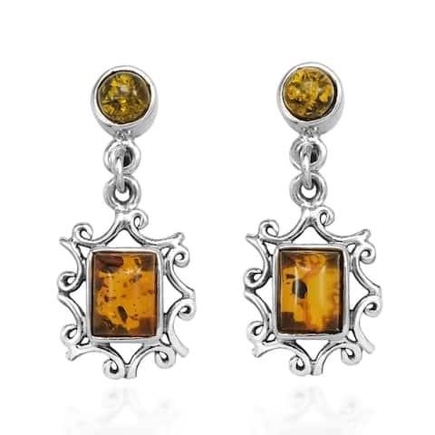 Handmade Vintage Swirl Rectangular Frame Amber Sterling Silver Drop Earrings (Thailand)
