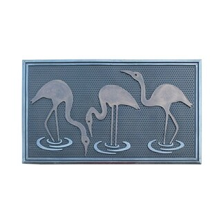 "Flamingo Rubber Pin Mat, Beautifully Copper and Silver Hand Finished,Non-Slip, Durable Heavy Duty Doormat, 18"" L X 30"" W"