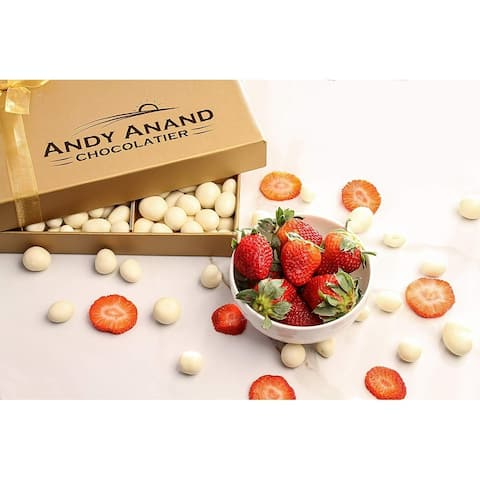 Andy Anand California Strawberries 1lbs, covered with Greek Yogurt, for Birthday, Valentine Day, Get Well Gift