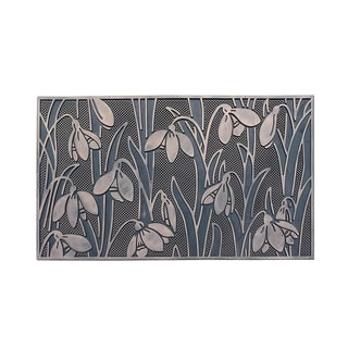 Floral Garden Rubber Pin Mat, Beautifully Copper Hand Finished, Non-Slip, Durable Heavy Duty Door Mat