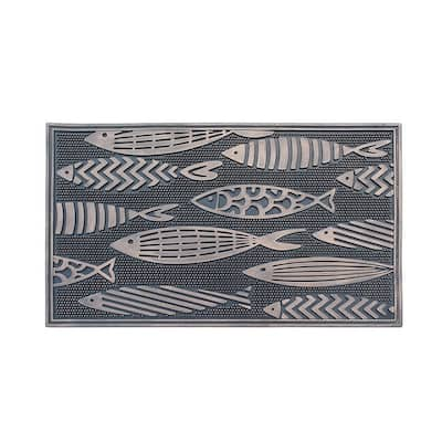 """Fish Rubber Pin Mat, Beautifully Copper Hand Finished, Non-Slip, Durable Heavy Duty Doormat, 18"""" L X 30"""" W"""