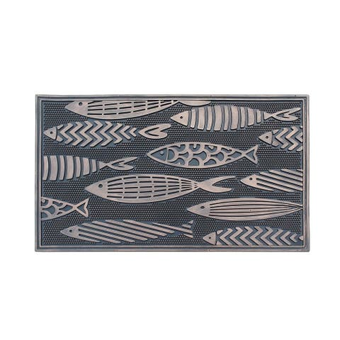 "Fish Rubber Pin Mat, Beautifully Copper Hand Finished, Non-Slip, Durable Heavy Duty Doormat, 18"" L X 30"" W"