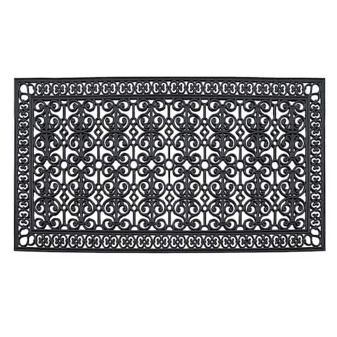 """Rubber Paisley, Beautifully Hand Finished,Thick, Durable ,High Quality Rubber, Extra Large Size, Double,Doormat, 72"""" L X 36"""" W"""