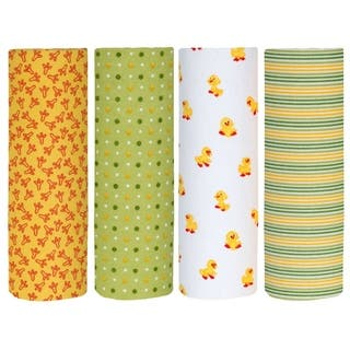 Cuddles & Cribs Cotton Flannel Receiving Blankets - 4 Count - 30 by 30 inch