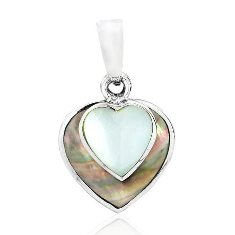 Handmade Two Dangle Hearts in One Love Natural Shell on Sterling Silver Pendant (Thailand)
