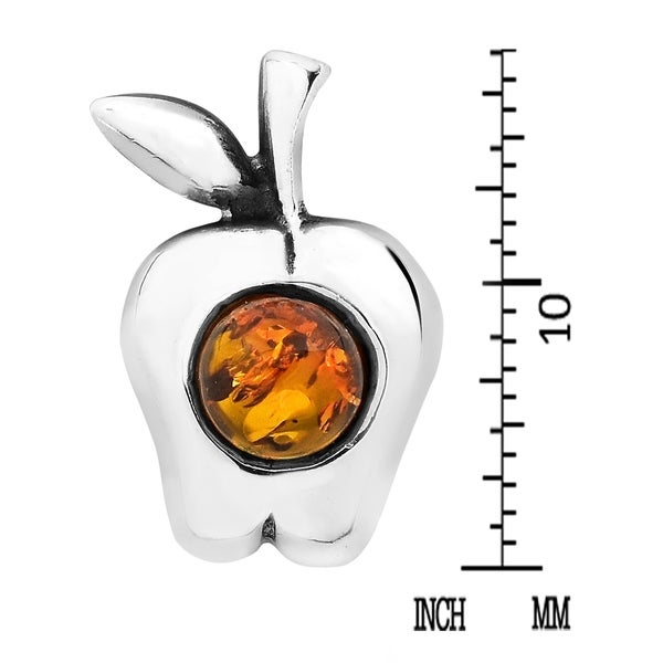 Handmade Enchanting Apple Shaped with Yellow Amber Inlay Sterling Silver Slide Pendant (Thailand)