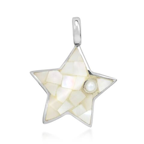 Handmade Amazing Sterling Silver Star with White Shell Mosaic Charm or Pendant (Thailand)