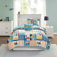 Mi Zone Kids Traveling Trevor Blue Reversible Coverlet Set