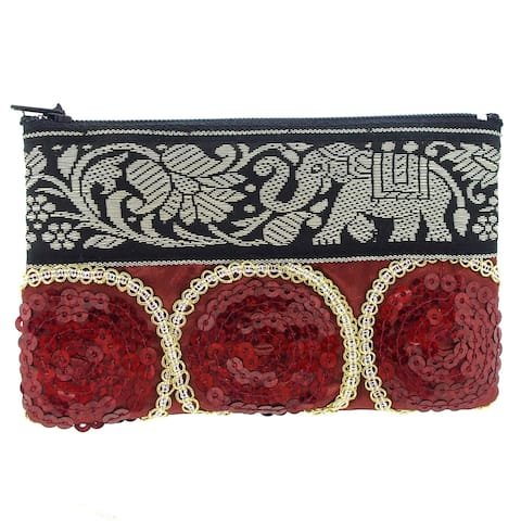Handmade Majestic Elephant Embroidered Fabric Tribal Coin Purse (Thailand)
