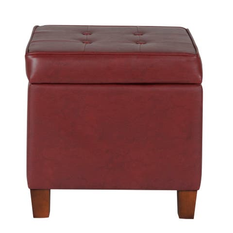 Square Shape Leatherette Upholstered Wooden Ottoman with Tufted Lift Off Lid Storage, Red