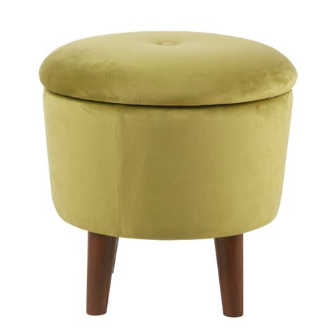 Velvet Upholstered Tufted Ottoman with Tapered Legs and Hidden Storage, Green and Brown