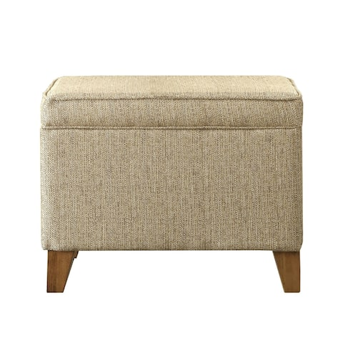 Rectangular Fabric Upholstered Wooden Ottoman with Lift Top Storage, Brown