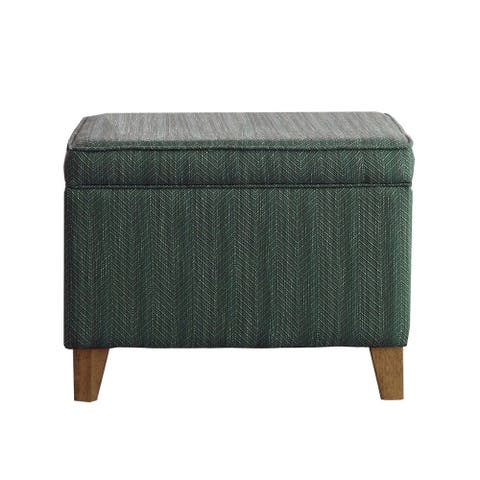 Rectangular Fabric Upholstered Wooden Ottoman with Lift Top Storage, Green