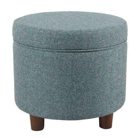 Fabric Upholstered Round Wooden Ottoman with Lift Off Lid Storage, Teal Blue