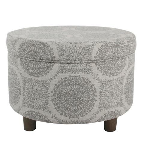 Wooden Ottoman with Medallion Patterned Fabric Upholstery and Hidden Storage, Gray