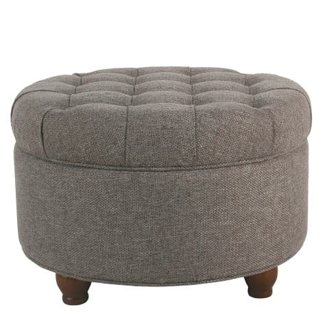 Fabric Upholstered Wooden Ottoman with Tufted Lift Off Lid Storage, Dark Gray